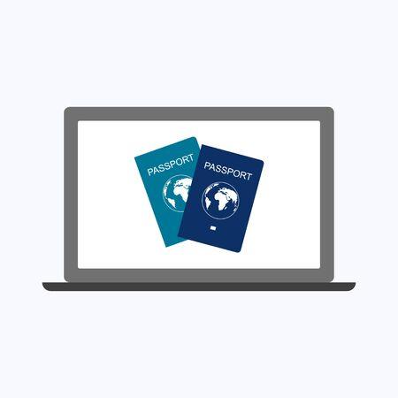 International passport with laptop, business concept vector illustration