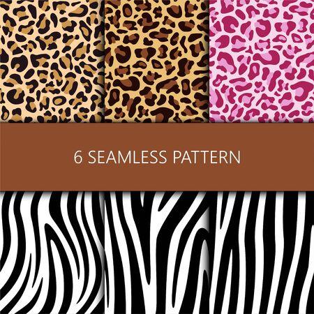 Set of seamless pattern with leopard and zebra skin, vector illustration Illustration