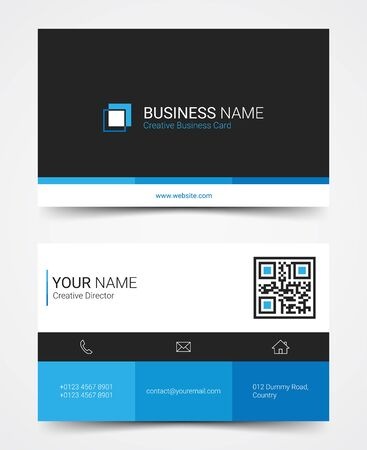 Modern business card design template set, vector illustration