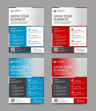Modern business flyer design template set, vector illustration Stock Illustratie