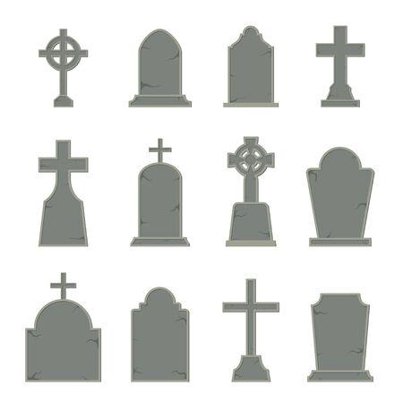 Ensemble de forme de pierre tombale sur fond blanc, illustration vectorielle