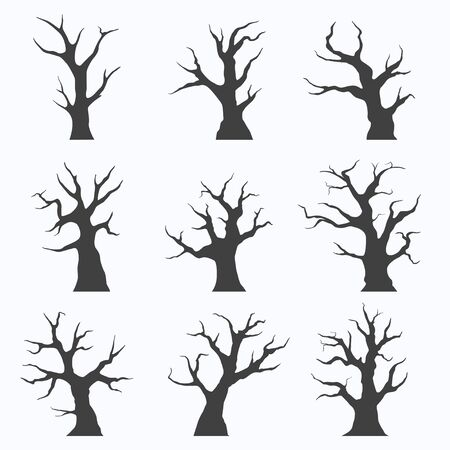 Set of naked trees silhouettes on white background, vector illustration