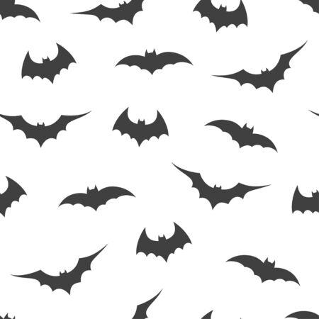 Patrón sin fisuras con murciélagos sobre fondo blanco, ilustración vectorial