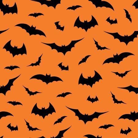 Seamless pattern with bats on orange background, vector illustration Vektoros illusztráció