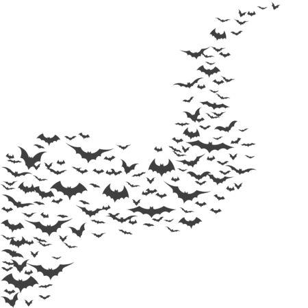 Halloween flying bats on white background, vector illustration