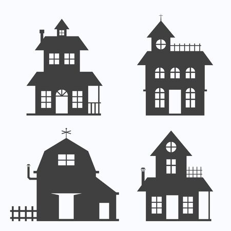 Set of house on white background, vector illustration