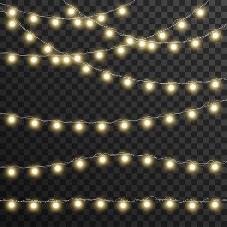 Luci di Natale isolate su sfondo trasparente, illustrazione vettoriale Vettoriali