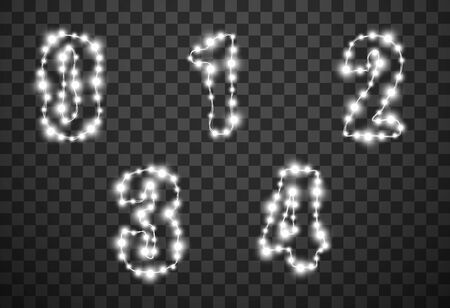 Numbers with light bulbs isolated on transparent background, vector illustration