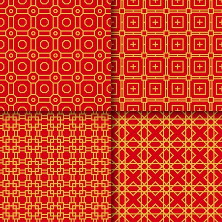Set of golden chinese seamless pattern, vector illustration Illusztráció