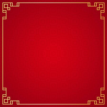 Oriental chinese border ornament on red background, vector illustration
