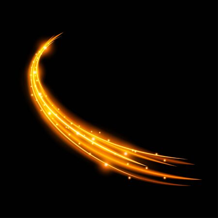 Light effect with curve trail and golden sparkles on black background