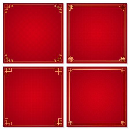 Set of oriental chinese border ornament on red background, vector illustration Ilustrace