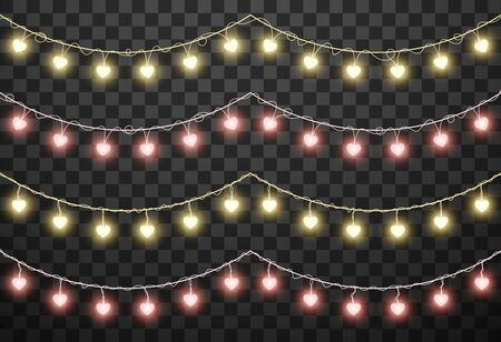 Valentines lights isolated on transparent background, vector illustration