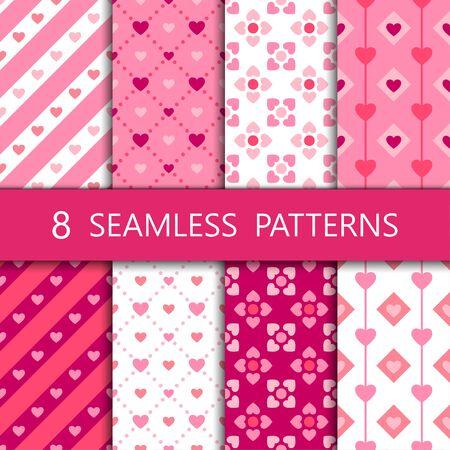 Conjunto de patrones sin fisuras de corazón rosa, ilustración vectorial