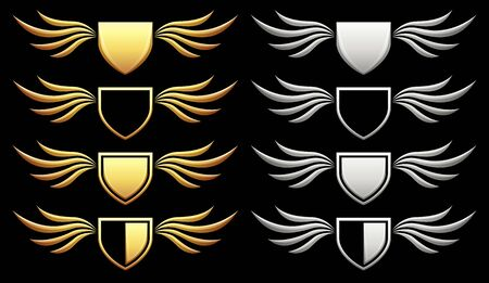 Set of heraldic shield with wings on black background, vector illustration Stockfoto - 139652785