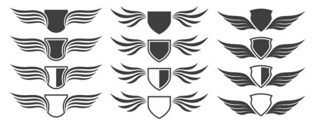 Set of heraldic shield with wings on white background, vector illustration Stockfoto - 139652788