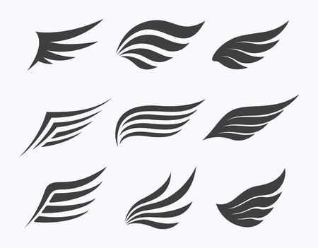 Set of wings on white background, vector illustration