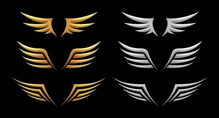 Set of wings on black background, vector illustration