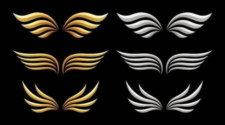 Set of wings on black background, vector illustration Stockfoto - 139652791