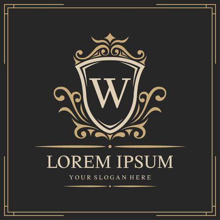 Luxury logo template, letter W logo design, vector illustration Logo