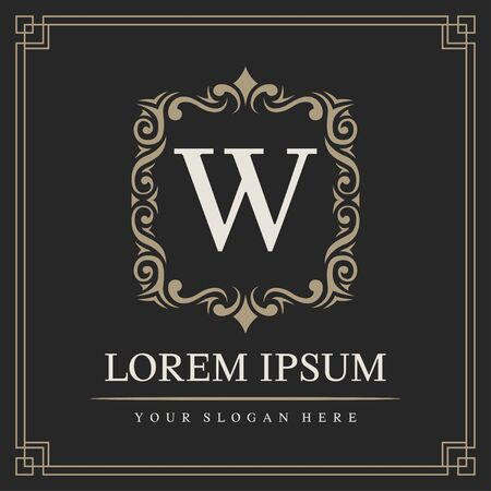 Luxury logo template, Initial letter type W