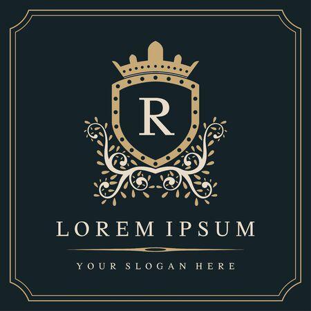 Luxury monogram logo template, letter R logo design, vector illustration