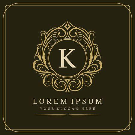 K letter vector logo template on brown background, vector illustration