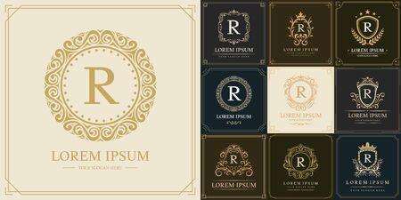 Set of luxury logo template, Initial letter type R, vector illustration Ilustração