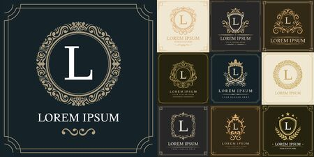 Set of luxury logo template, Initial letter type L, vector illustration Logó