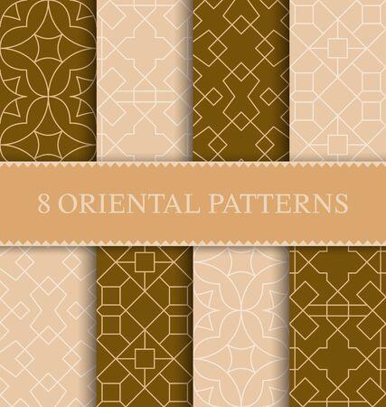 Set of traditional arabian seamless pattern, vector illustration Ilustración de vector