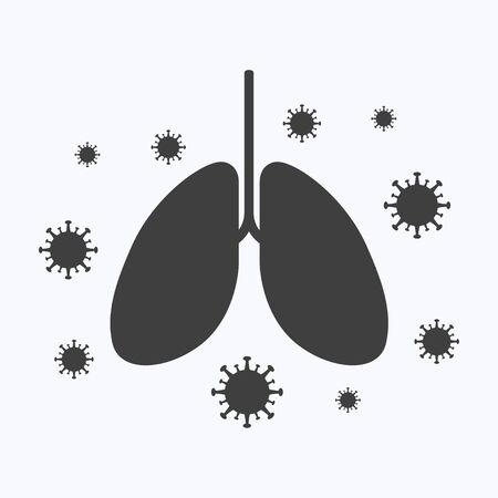 Lungs with corona virus flat design style on white background, vector illustration Vetores