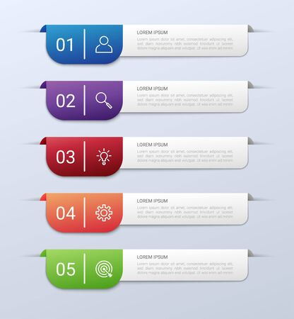 Business data visualization, infographic template with 5 steps on gray background, vector illustration 向量圖像