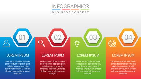 Business data visualization, infographic template with 4 steps on gray background, vector illustration