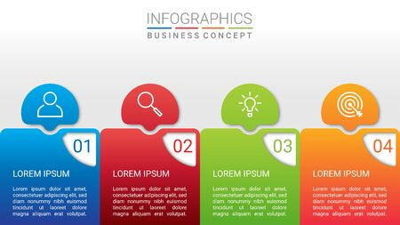 Business data visualization, infographic template with 4 steps on gray background, vector illustration 向量圖像