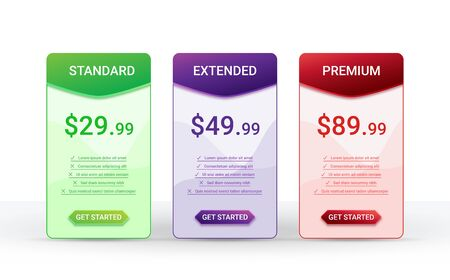 Price comparison table layout template for three products, vector illustration Vectores