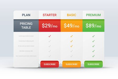 Price comparison table layout template for three products, vector illustration Illustration