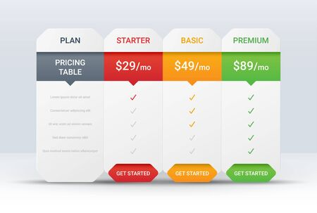 Price comparison table layout template for three products, vector illustration Vector Illustration