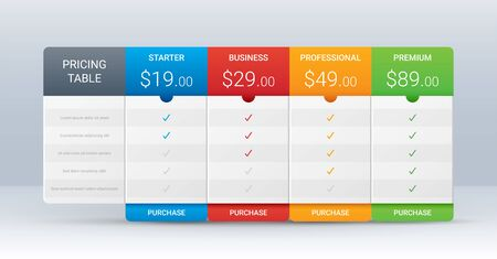 Price comparison table layout template for four products, vector illustration Vectores