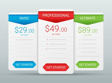 Price comparison table layout template for three products, vector illustration