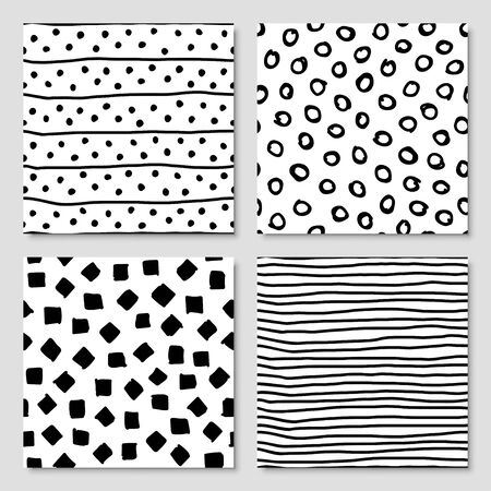 Set of hand drawn ink seamless pattern, vector illustration