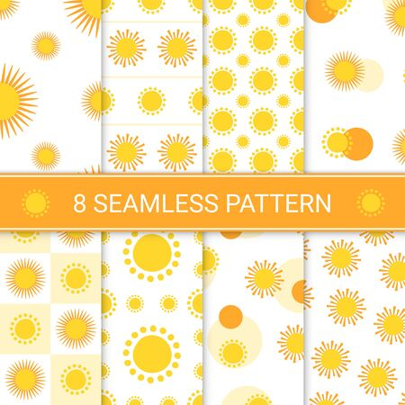 Set of hand drawn suns seamless pattern, vector illustration