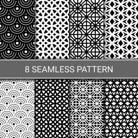 Ensemble de motifs géométriques abstraits sans soudure, illustration vectorielle
