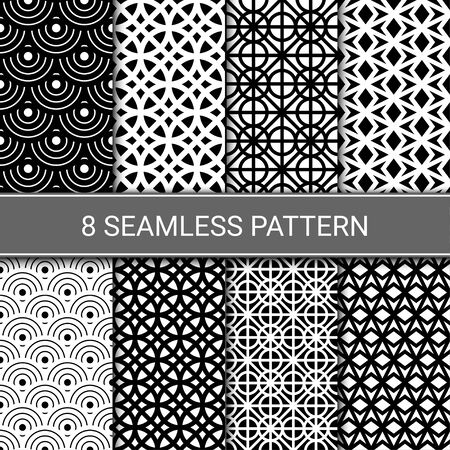 Set of abstract geometric seamless patterns, vector illustration