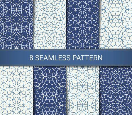 Ensemble d'œuvres d'art de motifs géométriques abstraits sans soudure, illustration vectorielle