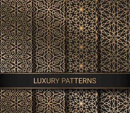 Set of luxury seamless patterns artwork, vector illustration