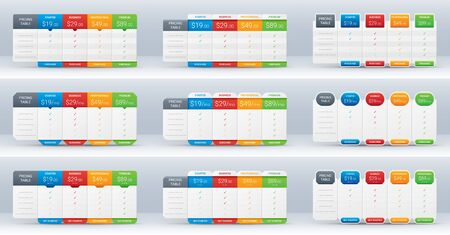 Price comparison table layout template for four products, vector illustration