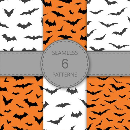 Seamless pattern with bats on orange and white background, vector illustration