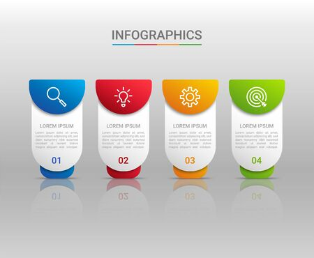 Business data visualization, infographic template with 4 steps on gray background, vector illustration Vettoriali