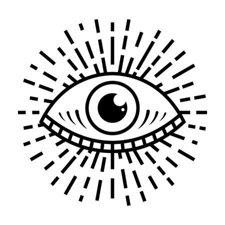Seeing eye symbol on white background, illustration