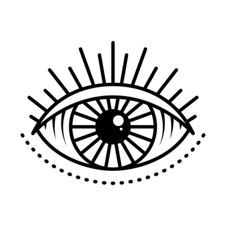 Seeing eye symbol on white background, vector illustration